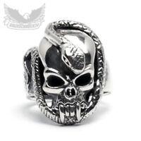Totenkopf Ring mit Schlange 925 Silber Skull Bikerschmuck Herren Biker Geschenk