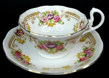 Royal Albert Crown China Tea Cup and Saucer 8490 Floral