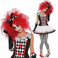 Ladies Womens Clown Harlequin Honey Jester Halloween Fancy Dress Costume Outfit