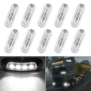 10X White 4 LED Side Marker Indicator Light Lamp for Caravan Truck Trailer Lorry
