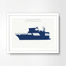 BLUE MODERN BOAT YACHT SILHOUETTE SEASIDE NAUTICAL ART PRINT Poster Decor Wall