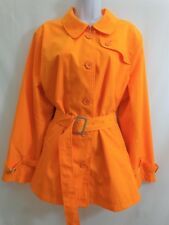 TERRY LEWIS Bright Orange Button Front Belted Jacket Coat Size 1X