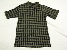 Bobby Jones Gray Checkered Shirt Large L Diamond Golfer Placket Golf Polo Banded
