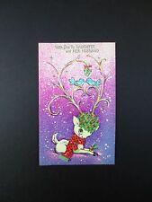 Vintage Unused Xmas Greeting Card Ornate Decorated Antlers on White Deer