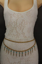 Women Metal Chain Belt High Waist Side Hip Gold Spikes Turquoise Bead XS S M L