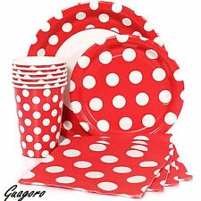 40 Red Polka Dot Plates Napkins Cups Birthday Mickey Minnie Ladybug Party Supply