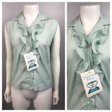 1960s Sleeveless Blouse Top / Unworn Pale Blue Ruffled Up Crop Shirt / Small