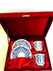 Gural Porselen Turkish Espresso Set In Maroon Velvet Box with Maroon Satin...