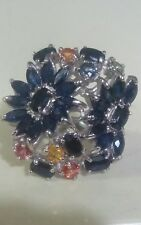 Rich Blue Sapphire 925 Sterling Silver Ring Size 7,new!