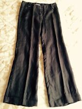 Zara Brown Linen Trousers, Size UK 12