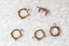 VINTAGE BRASS 6MM ROUND OPEN BACK SETTINGS MOUNTINGS WITH RING 15 PCS