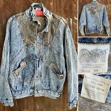 Vintage Acid Wash Denim Bomber Jean Jacket Blue Gray Color Block Urban Equipment