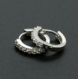 Mens Ladies Crystal Rhinestone Stud Earrings Huggie Small Hoop Earrings Jewelry