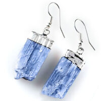 Natural Blue Kyanite Earrings Crystal Point Wire Dangle Earrings Reiki Energy He