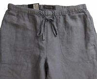 New Womens Marks & Spencer Blue Peg Leg Linen Trousers Size 14 8 Long Leg 31
