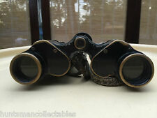 Antique Pair of French Brass & Leather WWI Field Binoculars Neptune 8 x