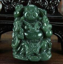 100% Natural Green HeTian Jade Carved Buddha Fine Jade Pendants Necklace Jewelry