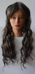 Costume Cosplay Wig Long Wavy Curly Warm Gray Fashion Wigs Anime Lace Front