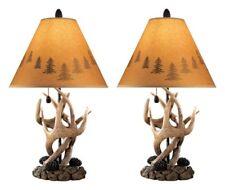 Antler Table Lamp Deer Cabin Lodge Wildlife Silhouette Pine Cone Rustic Set of 2