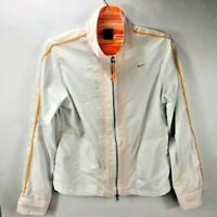 VTG Nike Women's Zip Up Windbreaker Jacket White Orange Running Golf Size Large