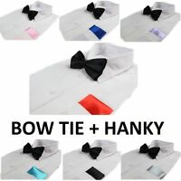 MENS 2 PCS COMBO: BLACK BOW TIE + PLAIN POCKET SQUARE HANKY HANDKERCHIEF WEDDING