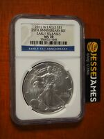 2011 W BURNISHED SILVER EAGLE NGC MS70 EARLY RELEASES FROM 25TH ANNIVERSARY SET