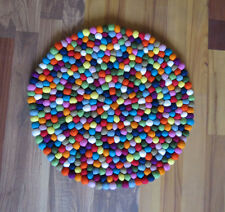 100% Pure Woolen Multi-color Round 120 cm Felt Balls Rug Carpet Nepal Stock sale