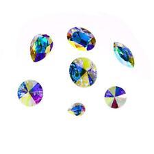 Dongzhou K9 Glass Crystal Ab Nail Rhinestones 42pcs Pointed Back Crystals Mix Si
