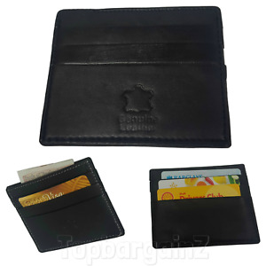 Leather Credit Card Holder ID Pocket Case Slim Small Wallet Mens Black Unisex