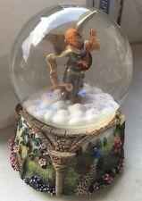 Mk Fontanini Musical Glitterdome Revolving Angel Mandolin Water Globe Rare