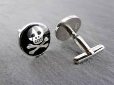 Elegante Edelstahl Manschettenknöpfe  Totenkopf Skull schwarz/silber Hochwertig