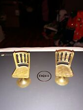 Miniature Vintage Brass Dollhouse Chairs
