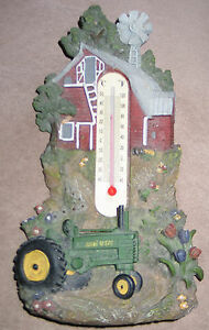 OLD JOHN DEERE FARM SCENE THERMOMETER WITH TRACTOR