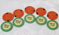 10 Illegal Clay Casino Poker Chips Prohibition Speakeasy 5 Dells 5 VCC Mint 1930