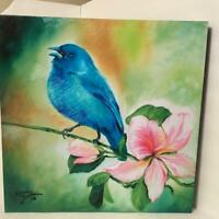 Marcia Baldwin 23508 BLUEBIRD 15x15 Canvas Wall Art in Window Gift Box, NEW