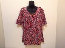 Studio Works Womens L Red Print Pullover Top w/Bell Sleeves & Metal Decor CB31-3