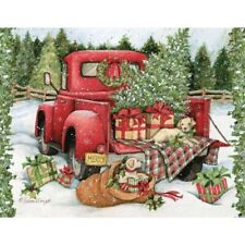 HOLIDAYS CHRISTMAS CROSS STITCH PATTERN, CHRISTMAS RED TRUCK BEST FRIENDS