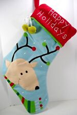 Happy Holidays Reindeer Christmas Stocking Blue Red Green