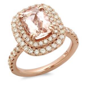 Certified 3.00cttw Morganite 1.20cttw Diamond 14KT Rose Gold Gold Ring