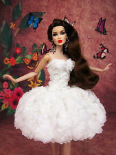White Flower Cocktail Evening Dress Outfit Gown Silkstone Barbie Fashion Royalty