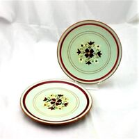 Vtg Stangl Garland 6 1/4 in Bread & Butter Plates Maroon White Flowers As Found