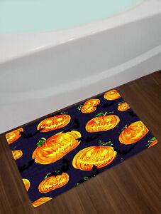 Halloween Pumpkin Lanterns Watercolor Style Waterproof Fabric Shower Curtain Set
