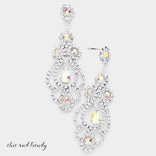 STUNNING AURORA BOREALIS CRYSTAL FASHION EARRINGS WEDDING FORMAL CHUNKY JEWELRY