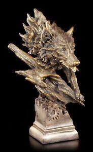 Wolfskopf Büste - Tierdeko Hund Husky Wolfshund Statue