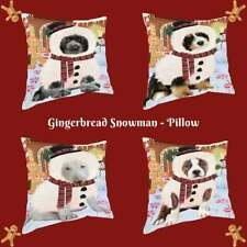 Christmas Gingerbread Snowman Dog Cat Pet Photo Throw Decorative Pillow