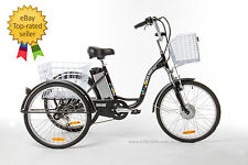 "Trike Bike Adult Tricycle 24"" Aluminium 3 Wheeled - 6 Gears & Baskets - ELECTRIC"