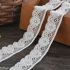 5Yard 2.5cm White Elastic Lace Trim Ribbon Fabric Decor Crafts Sewing Suppies