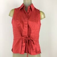 Carlisle woman shirt Top Blouse size 6 red sleeveless cotton stretch