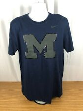 🏀 NEW Michigan Wolverines Nike Short Sleeve Shirt Large L Blue Gray Black