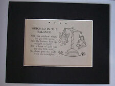 Print Girl Angel Poem 1930s Bookplate Weight Balance Scale 8x10 Matted Adorable